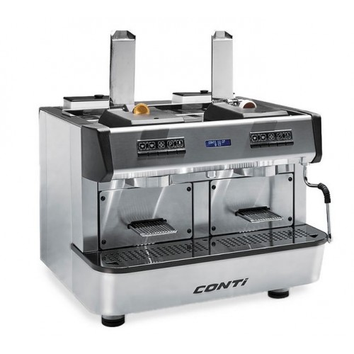 Machine espresso à dose professionnelle CONTI pour CAPSULES NC/FAP, CAP ONE, 2 groupes, inox
