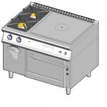 Cuisinière à gaz plaque coup-de-feu , + 2 feux vifs sur four à gaz et armoire neutre-allumage piezo
