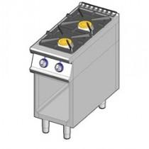 Cuisinière à gaz-2 feux vifs sur baie libre ,puissance augmentée , allumage piezzo