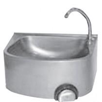 Lave main cuisine professionnelle, inox AISI 304 cuve semi-circulaire, sans dosseret, L 480 x P 360 x H 250 mm