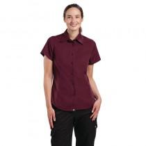 Chemise à manche courte Chef Works pour femme, couleur aubergine, taille : L-XL