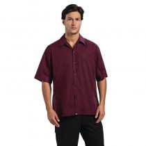 Chemise à manche courte Chef Works, couleur aubergine, taille L-XL