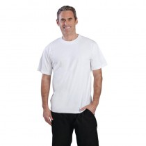 Tee-shirt blanc, structure 100% coton, taille: L-XL