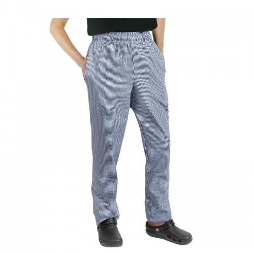 Pantalon de cuisinier mixte Baggy Chef Works, petits carreaux bleus, Tailles XXL