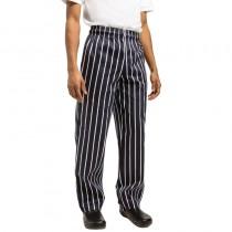 Pantalons de cuisinier à rayures noir et blanc Chef Works, en polyester-coton, tailles L - XXL