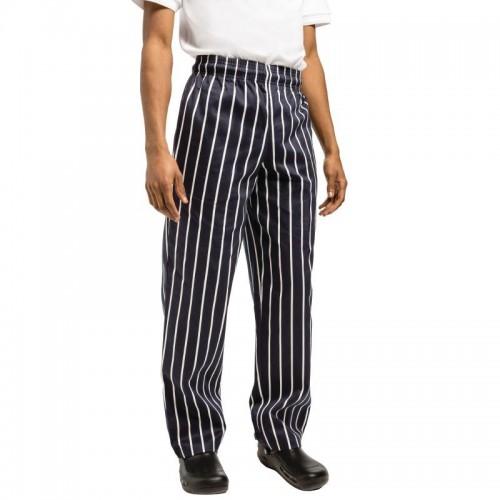 pantalon de cuisinier rayures noir et blanc chef works en polyester coton stl sarl. Black Bedroom Furniture Sets. Home Design Ideas