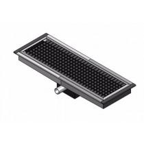 Caniveau de sol cuisine professionnelle, Sortie horizontale, Dimension grille L 1000 x P 300 x H 20 mm
