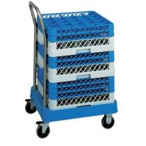 Chariot ABS porte casiers de lave-vaisselle, inox , avec barre de pousée