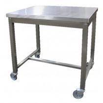 Table de service soudée, 1 niveau sur roues zinguées, inox AISI 304, profondeur 600 mm