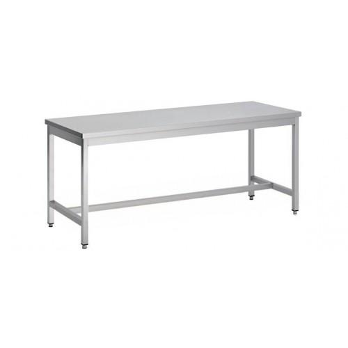 Table démontable bord droit pieds carrés, inox ferritique, centrale,  P 700 mm