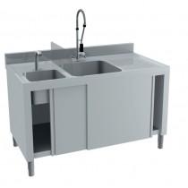 Combiné plonge / lave main, avec dosseret, portes coulissantes, en inox AISI 304, 2 bacs