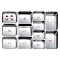 Plats inox pour vitrines réfrigérées profondeur 740 mm, bac à foie C6