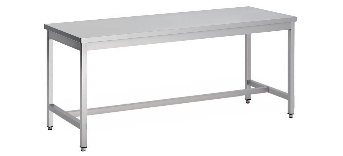 Table d montable pieds carr s centrale p 700 mm stl for Table de cuisine inox