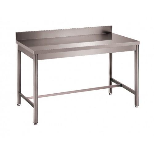Table démontable bords droits pieds ronds, inox ferritique, adossée, P 600 mm