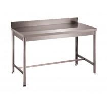 Table démontable bord droit pied rond, adossée, inox AISI 304, profondeur 600 mm
