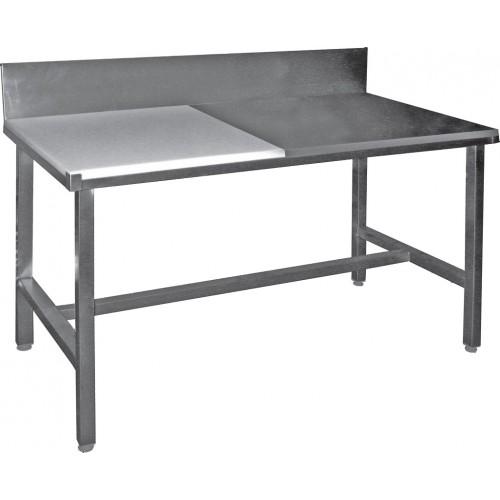 Table de découpe professionnelle, mixte côte à côte adossée, en inox ferritique, P 700 mm