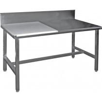 Table de decoupe professionnelle, mixte côte à côte adossée, inox aisi 304, dessus poly, profondeur 600 mm