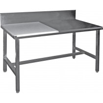 Table de decoupe professionnelle, mixte côte à côte adossée, inox AISI 304, dessus poly, profondeur 700 mm