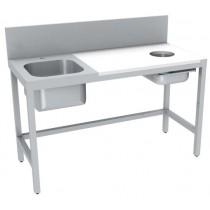 Table de préparation, dessus mixte inox-polyéthylène, TVO avec 1 bac de rinçage sans tiroir GN 1/1, longueur 1000