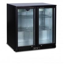 Desserte réfrigérée arrière de bar, 2 portes battantes vitrées, Skin plate noir