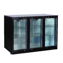 Desserte réfrigérée arrière de bar, 3 portes battantes vitrées, Skin plate noir
