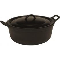 Faitout cuisine, en fonte émaillée noire avec couvercle , Aluminium , Ø 360 mm H- 150 mm L- 100 mm