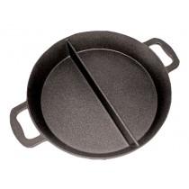 Poêle cuisine géante revêtement platinium , 2 compartiments , Aluminium , hauteur 80 mm