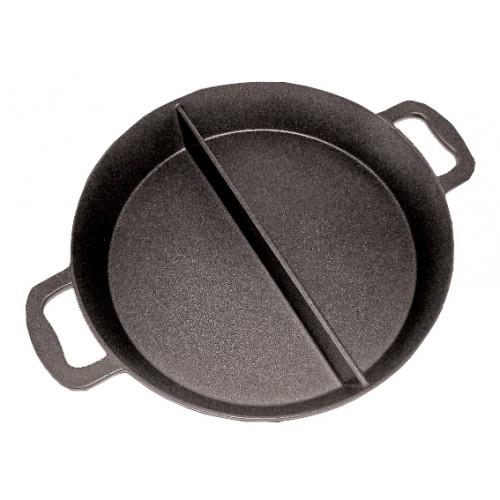 Poêle cuisine géante revêtement platinium, 2 compartiments, H 80 mm