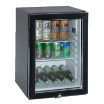 Minibar, porte vitrée, noir, L 400 x P 452 x H 670 mm