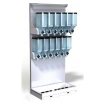 Gondole 10 litres avec fronton réglable, 2 niveaux, 12 distributeurs