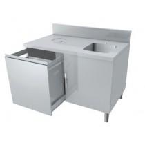 Meuble combiné lave-main/poubelle, 1 porte battante avec loqueteau, 1 tiroir coulissant,  profondeur  700