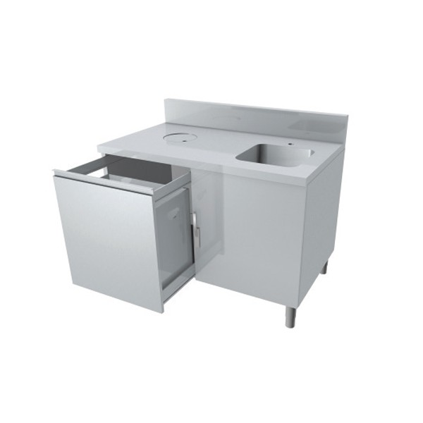 Meuble combin lave main poubelle 1 tiroir coulissant p for Meuble cuisine avec tiroir coulissant