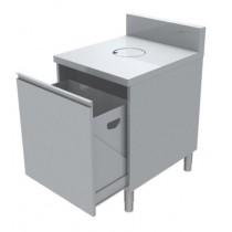 Meuble poubelle avec TVO, 1 porte, tiroir coulissant, profondeur 700