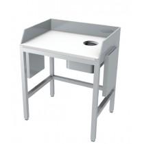 Table de préparation avec goulotte à déchets, dessus plaque polyéthylène blanc