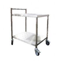 Chariot de desserte roulante avec barre de poussée, en inox AISI 304
