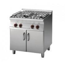 Piano de cuisson sur meuble placard fermé, gamme 700, en inox AISI 304, 4 feux gaz, 22 kW