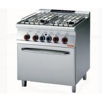Piano de cuisson 4 feux sur four à gaz, en inox AISI 304, 29.3 kW