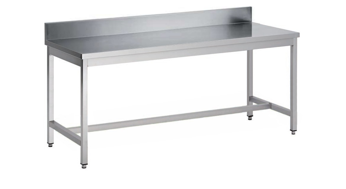 Table Demontable Bords Droits Pieds Carres Adossee En Inox Aisi