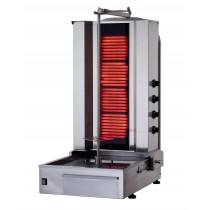 Machine kebab à gaz, en acier inoxydable, 5 brûleurs, 16.25 kW