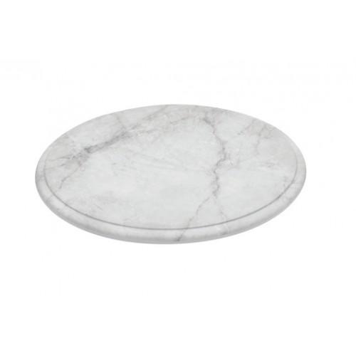 Plateau rond en mélamine imitation marbre de carrare sur pieds en silicone
