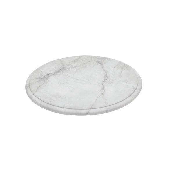 Plateau rond en mélamine imitation marbre de carrare sur pieds en silicone - Couleur - Blanc