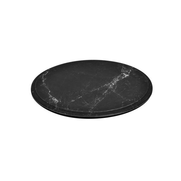 Plateau rond en mélamine imitation marbre de carrare sur pieds en silicone - Couleur - Noir