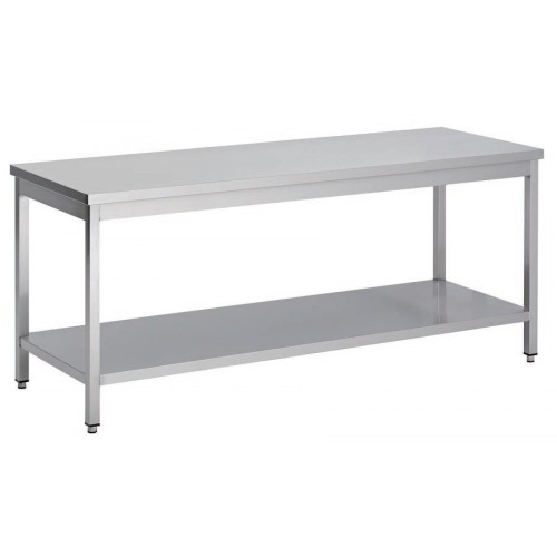 Table démontable bord droit pieds carrés, inox ferritique, centrale + étagère,  P 600 mm