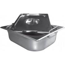 Bac inox cuisine gastronome, plein, anses escamotables, GN1/1, en inox aisi 304