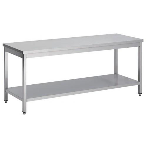 Table démontable bord droit pieds carrés, inox ferritique, centrale+étagère,  P 700 mm
