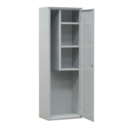 armoire balais avec 3 tag res couleur gris stl sarl materiels. Black Bedroom Furniture Sets. Home Design Ideas