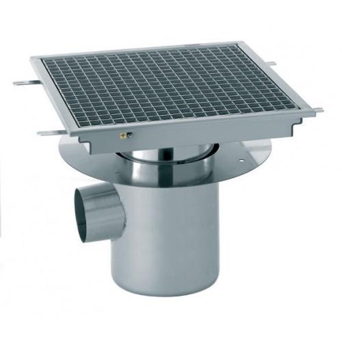 Siphon avec cuvette r glable 500 x 500 mm sortie horizontale centr e 100 mm stl sarl - Siphon de sol cuisine professionnelle ...