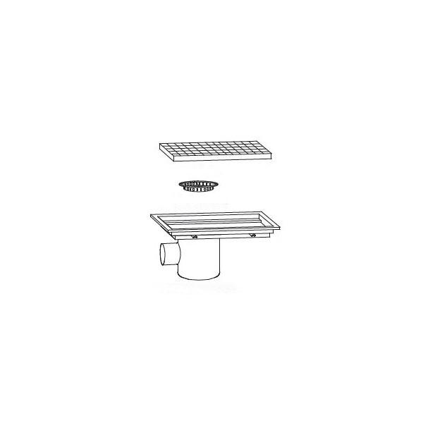 Siphon avec cuvette monobloc 900 x 300 mm sortie horizontale d centr e 100 mm stl sarl - Siphon de sol cuisine professionnelle ...