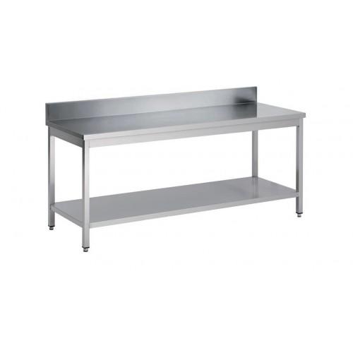 Table démontable bord droit pieds carrés, inox ferritique, adossée + étagère,  P 700 mm