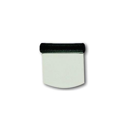 Raclette coupe pâte inox, manche en plastique noir, 110 x 115 mm - Désignation - Rigide à coupe ronde